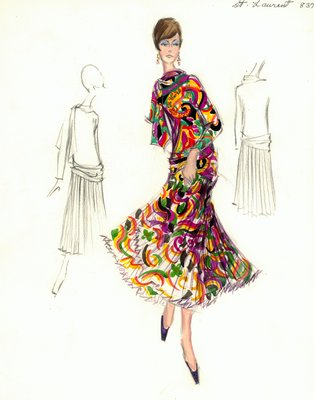 Yves Saint Laurent cocktail dress with scarf