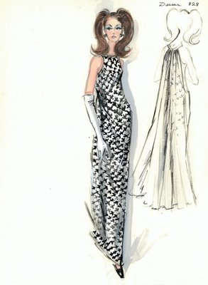 Jean Dessès black and white evening gown