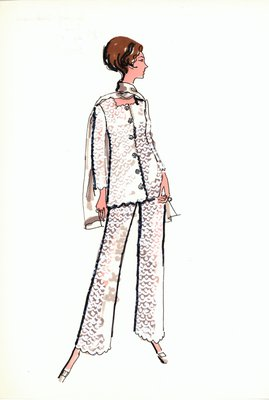 Mr.Eric white lace evening pantsuit